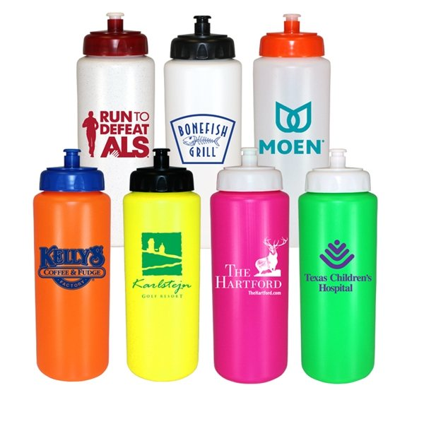 Promotional 32 oz Sports Bottle with Push n Pull Cap - BPA Free