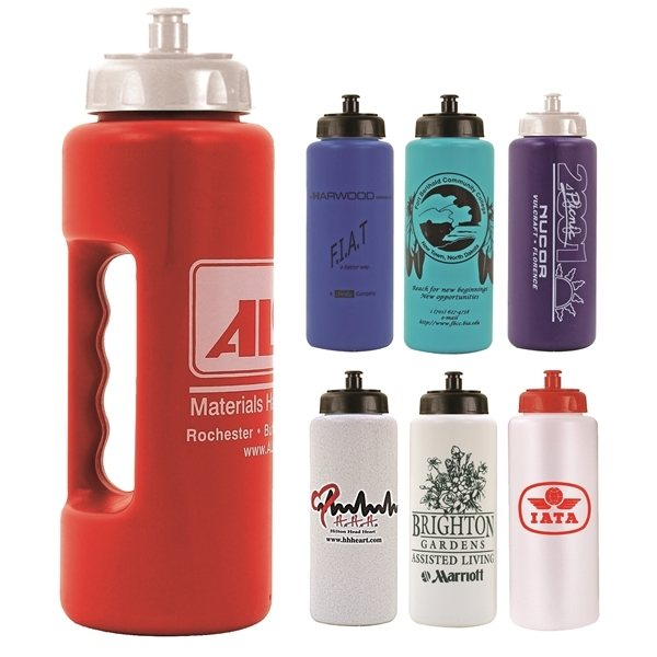 Promotional 32 oz Grip Bottle with Push n Pull Cap - BPA Free