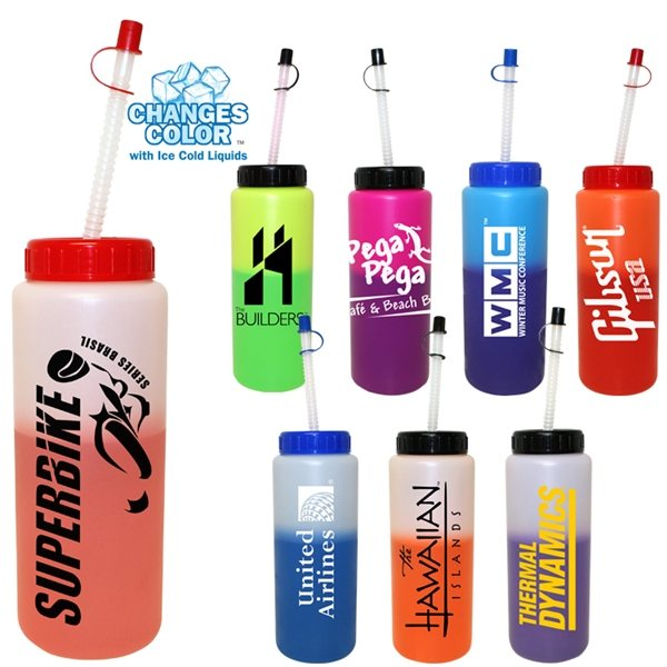 Promotional 32 oz Mood Sports Bottle with Flexible Straw - BPA Free