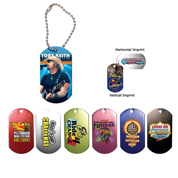 Promotional Dog Tag , 4-1/2 Ball Chain with Full Color Digital Imprinting
