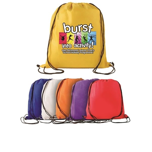 Promotional Non - Woven Drawstring Backpack, Full Color Digital