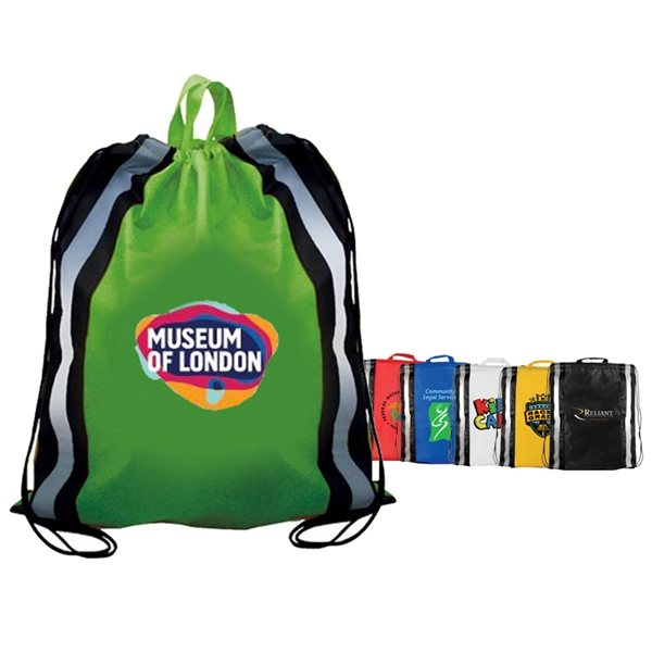 Promotional Non - Woven Reflective Drawstring Backpack, Full Color Digital