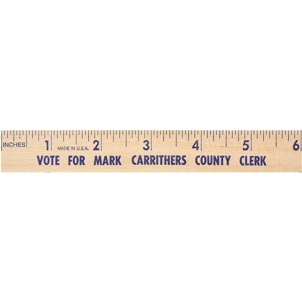 Promotional 6 Natural Finish Flat Wood Ruler