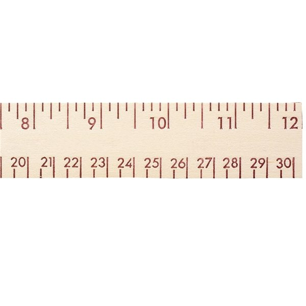 Promotional 12 Natural Finish Wood Ruler - English and Metric Scale