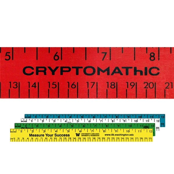 Promotional 12 Enamel Wood Ruler - English Metric Scale