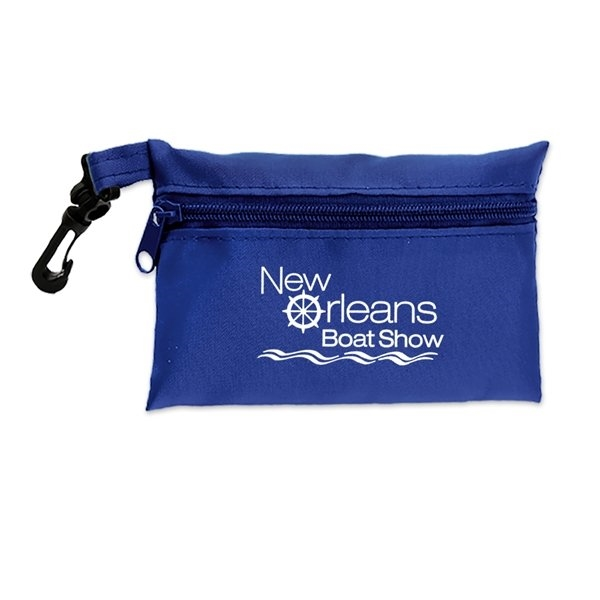 Promotional Polyester Zipper Pouch w / Clip 3 1/4 x 4 3/4