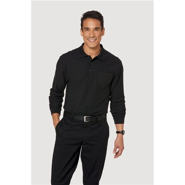 Promotional Port Authority Silk Touch Long Sleeve Polo with Pocket