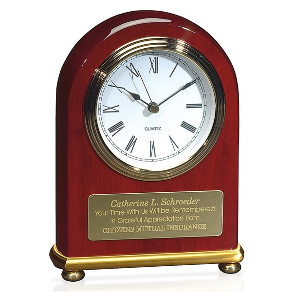 Promotional JAFF Collection Rosewood Arch with Brass Bezel Clock
