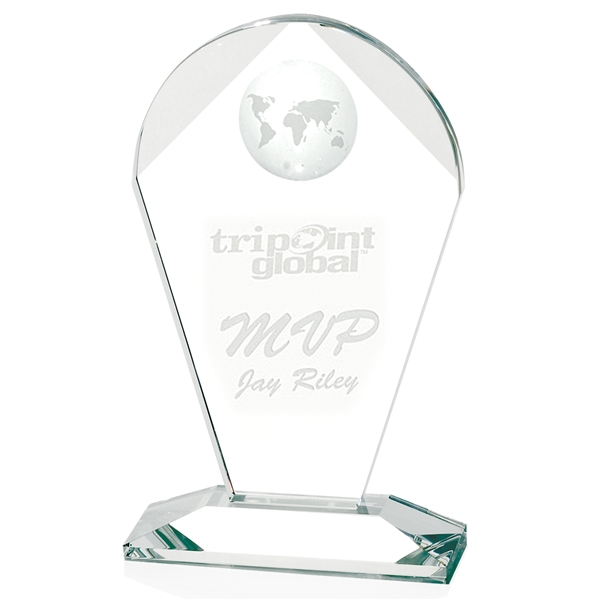 Promotional Geodesic Large Optical Crystal Award - 6x10x2 in