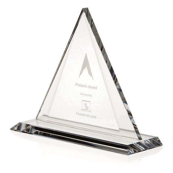 Promotional Triangle Optical Crystal Award - 9x7.25x3 in