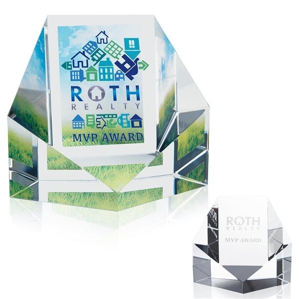 Promotional Reflections Optical Crystal Award - 3x3x2 in