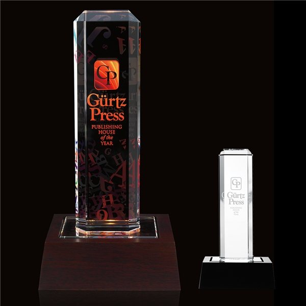 Promotional Vertical Highlight Award with Lighted Base