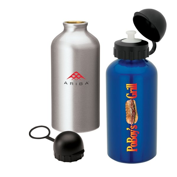 Promotional 16.9 oz Aluminum and Polypropylene Domed Cover Flask