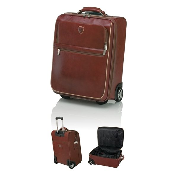 Promotional Leather Brown Luggage Trolley 14 1/4 W x 18 1/2 H x 8 1/4 D