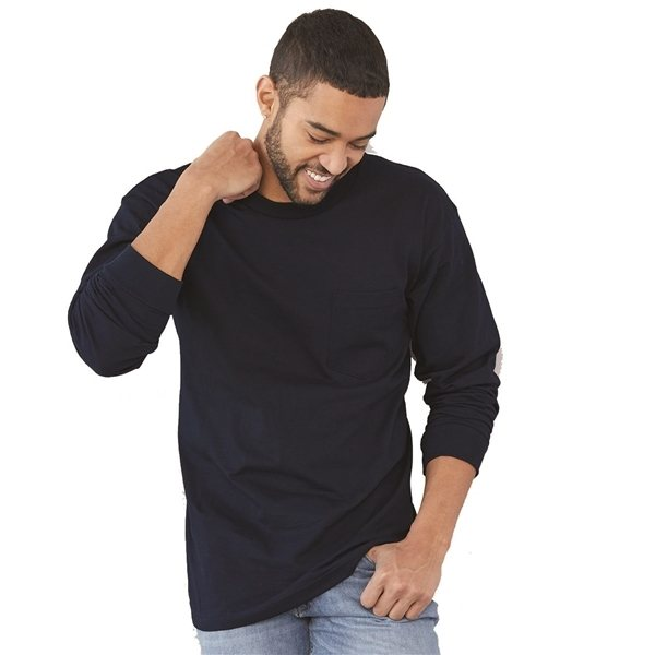 Promotional Bayside Long Sleeve T - shirt with a Pocket - Colors