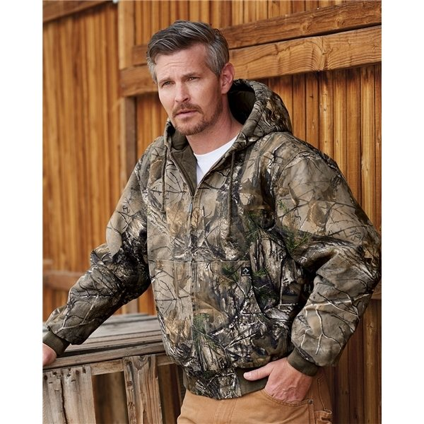 Promotional DRI DUCK Cheyenne Hooded Boulder Cloth Jacket with Tricot Quilt Lining Tall Sizes - Camouflage