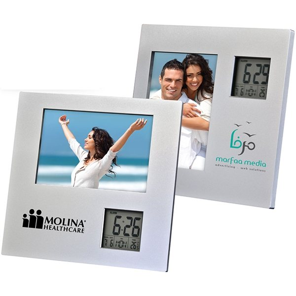 Promotional Photo Frame With Two Way Clock