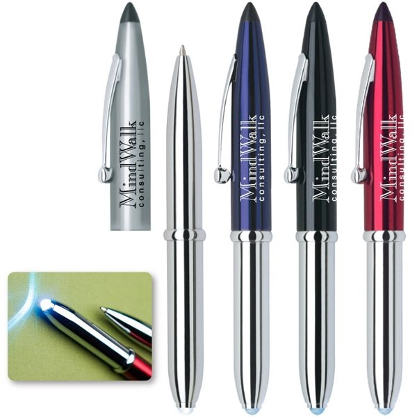 Promotional Luxor Chrome Plated Barrel Stylus and Light Pen