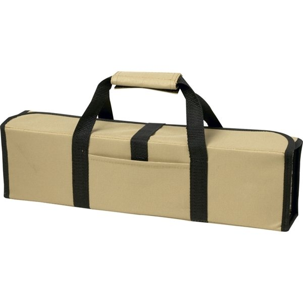 Promotional 5 Piece BBQ Set (Bamboo) in Roll - Up Case