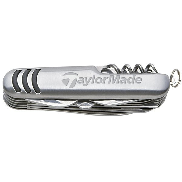 Promotional Rubber Grip Pocket Knife With Two Blades, Saw, Scissors, Corkscrew, File, And More.