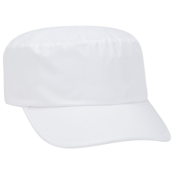Promotional Deluxe poplin painter cap with plastic snap.