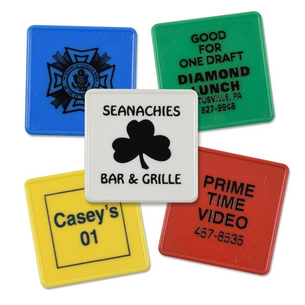 Promotional 1.25 Square Plastic Token