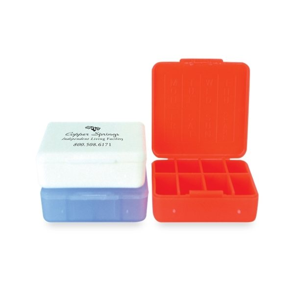 Promotional Polypropylene 8 Compartment Compact Pill Box
