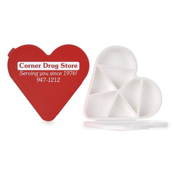 Promotional 7 Compartment Heart Pill Box