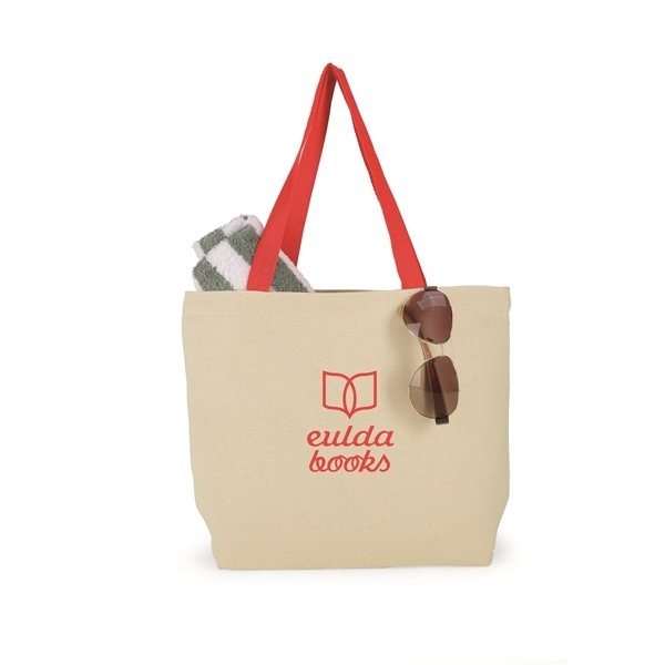 Promotional Red Cotton Canvas Colored Handle Tote Bag