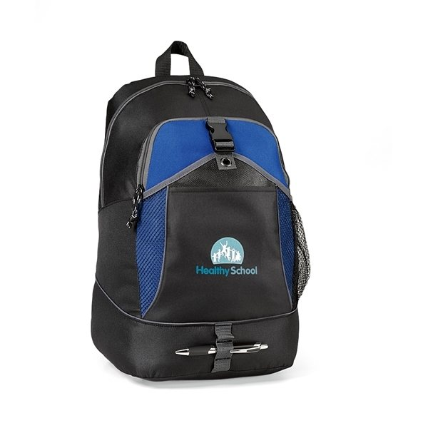 Promotional Gemline Blue Polyester Escapade Backpack