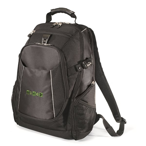 Promotional Polyester Vertex Black Zippin Backpack 15. 4 Laptop