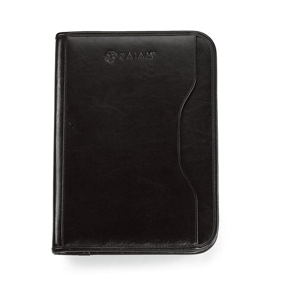 Promotional Gemline Leather Black Zippin Padfolio With 8.5 X 11 Paper Pad, Calculator Included