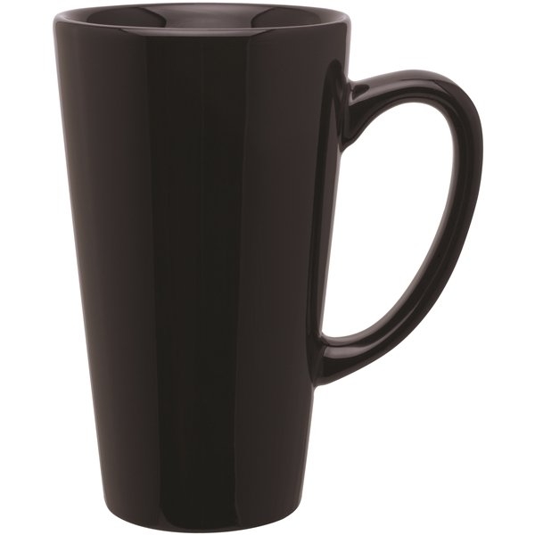 Custom Ceramic Tall Latte Mug Glossy Black 16 Oz