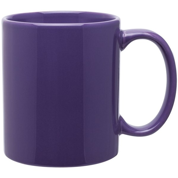 11 Oz C Handle Ceramic Mug Glossy Purple Advertising