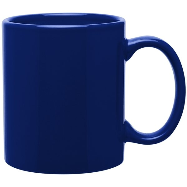 Promotional 11 Oz C Handle Ceramic Mug Glossy Royal Blue