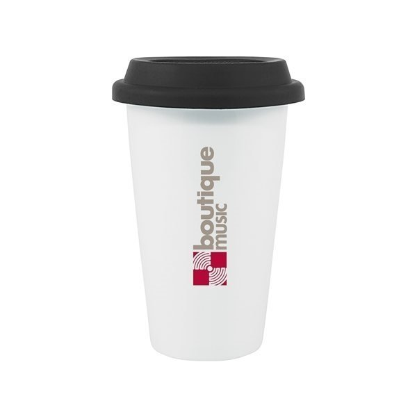 Promotional 11 oz Terra - white with black lid
