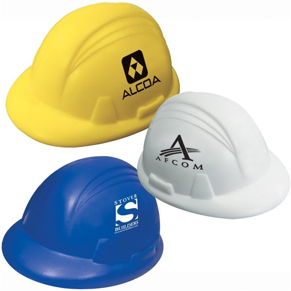 Promotional Hard Hat Stress Reliever (Yellow, Blue, or White)
