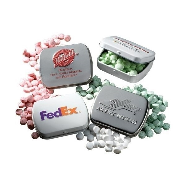 Promotional Embossed Mini Mint Tin with Mints
