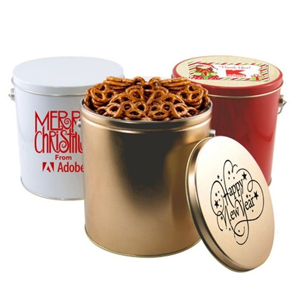 Promotional 1 Gallon Gift Tin with Pretzels