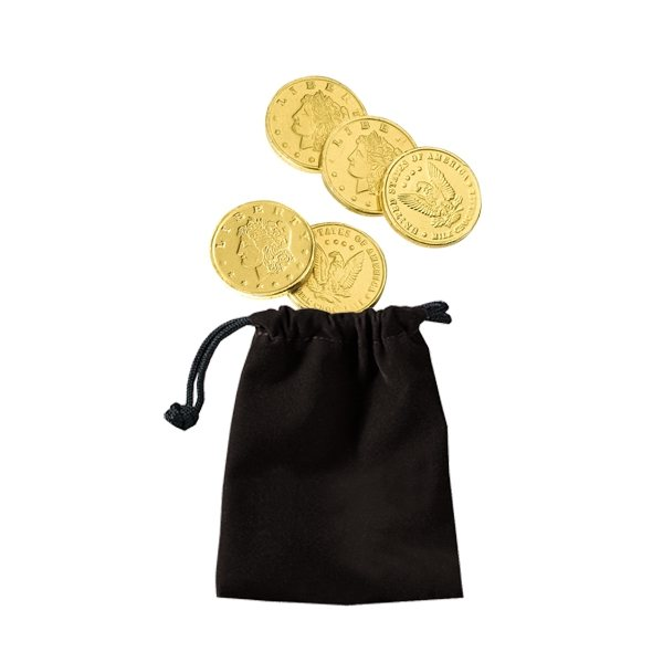 Promotional Velour Pouches with Chocolate Coins