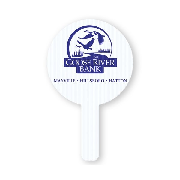 Promotional Round - Rally hand fans made of white corrugated plastic.