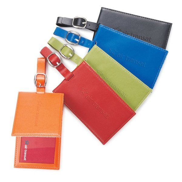 Promotional Custom Colorplay Leather Luggage Tag - 4 1/2 x 2 7/16