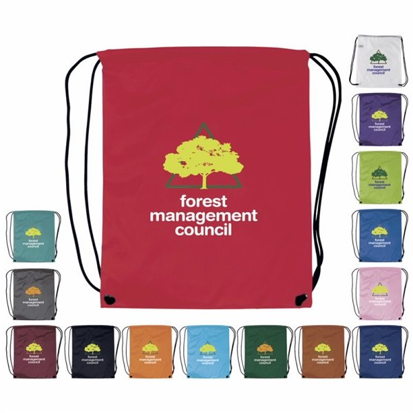 Promotional Nylon Multi Color Drawstring Cinch Closure Backpack 13.5 X 16.5