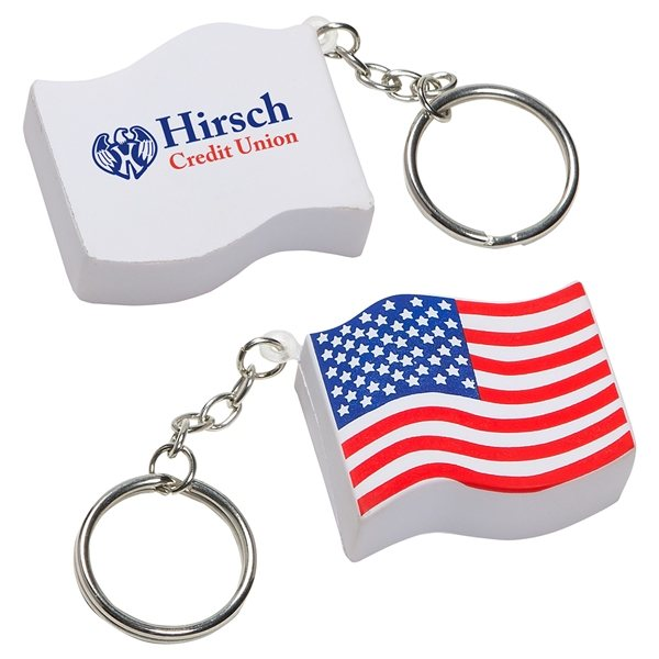 Promotional Us Flag Key Chain - Stress Relievers