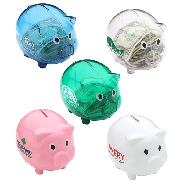 Promotional Piggy Bank with Twist - Open bottom