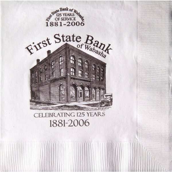 Promotional White 3- Ply Luncheon Napkins, Coin edge Embossed