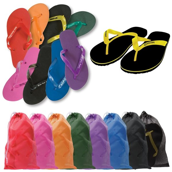 Promotional Adult Flip Flops in Mesh Drawstring Bag