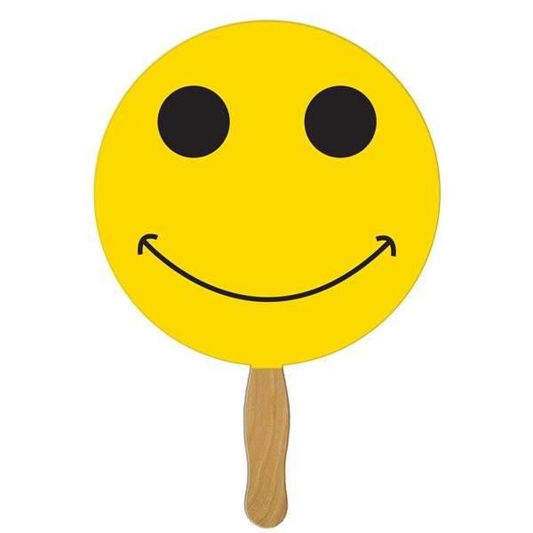 Promotional Smiley Face Hand Fan - Paper Products