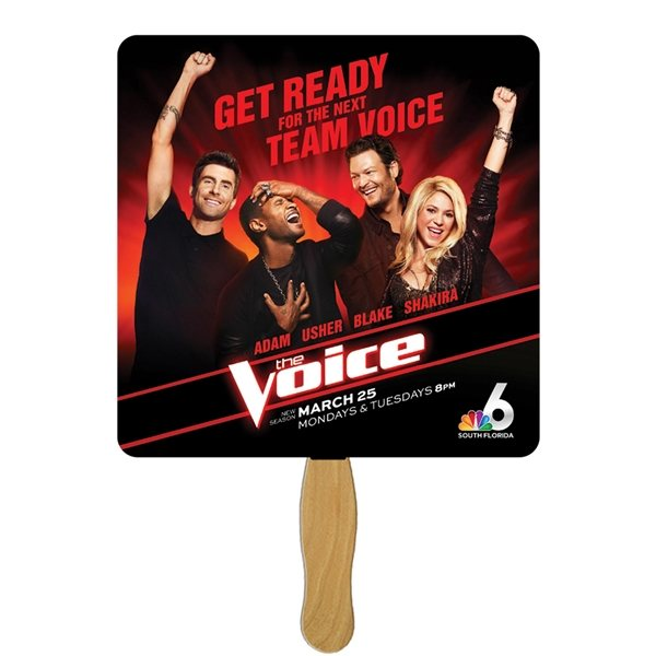 Promotional Square Stock Shape Fan - Paper Products