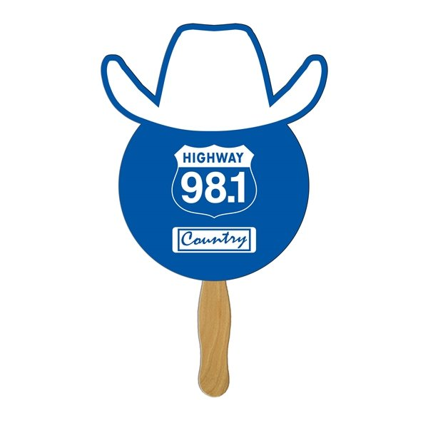 Promotional Cowboy Stock Shape Fan - Paper Products